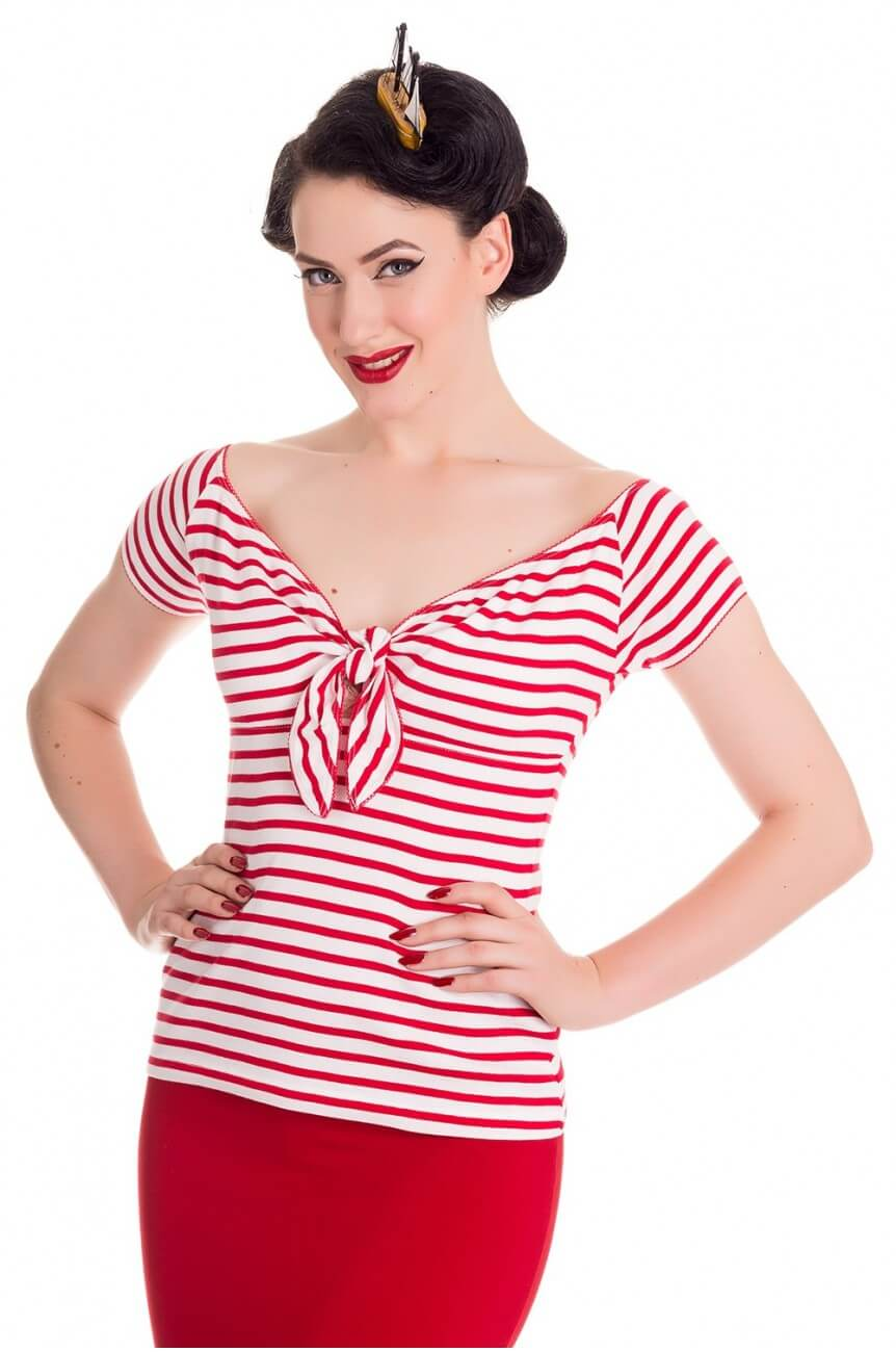 Haut rayé rouge style année50 pin up