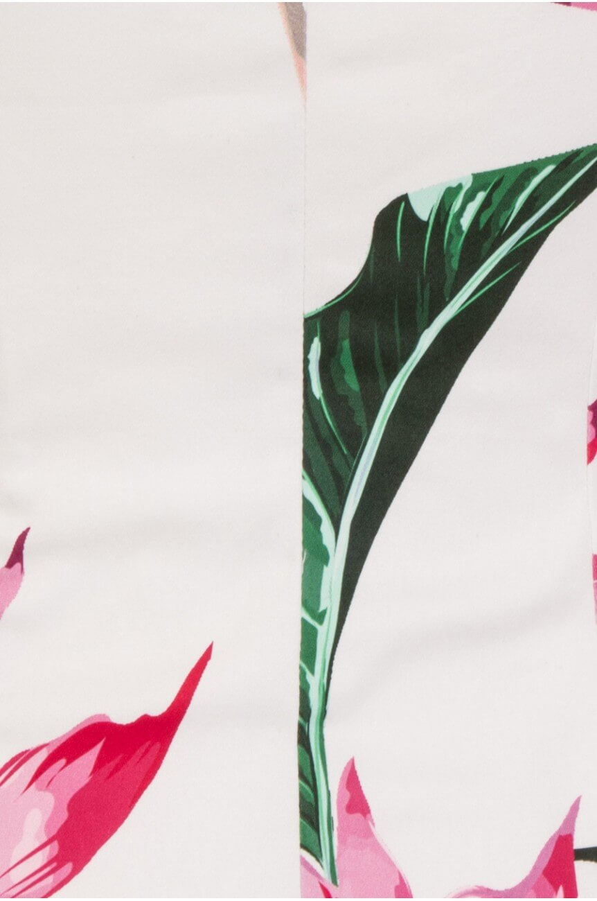 Robe crayon blanche motif floral