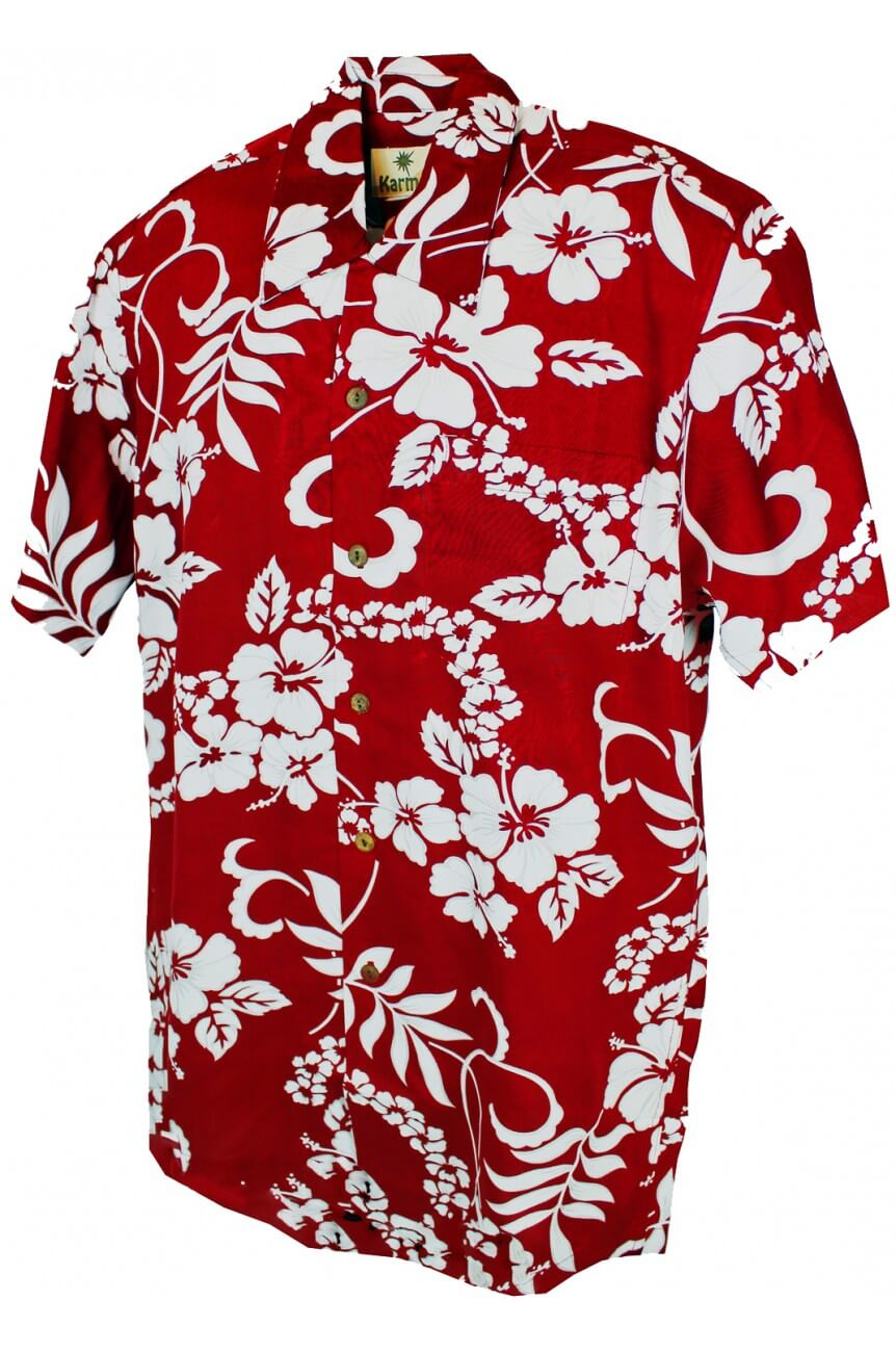 Chemise hawaiienne waikiki rouge