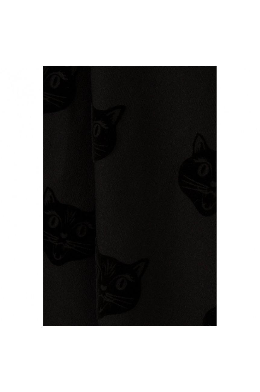Jupe évasée imprimé chat