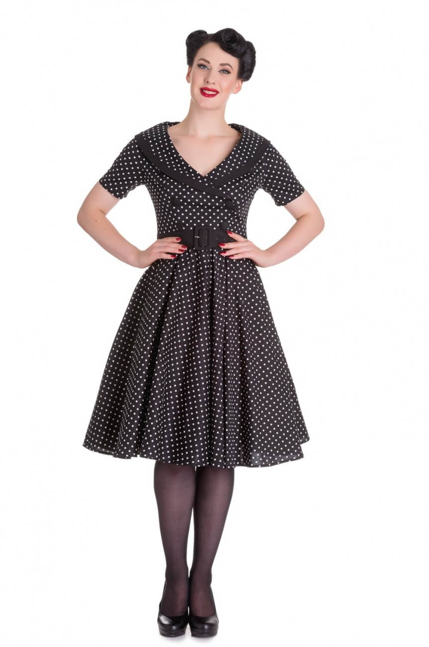Robe Hell bunny noire a pois blancs