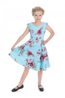 Robe pinup enfant bleue a fleurs
