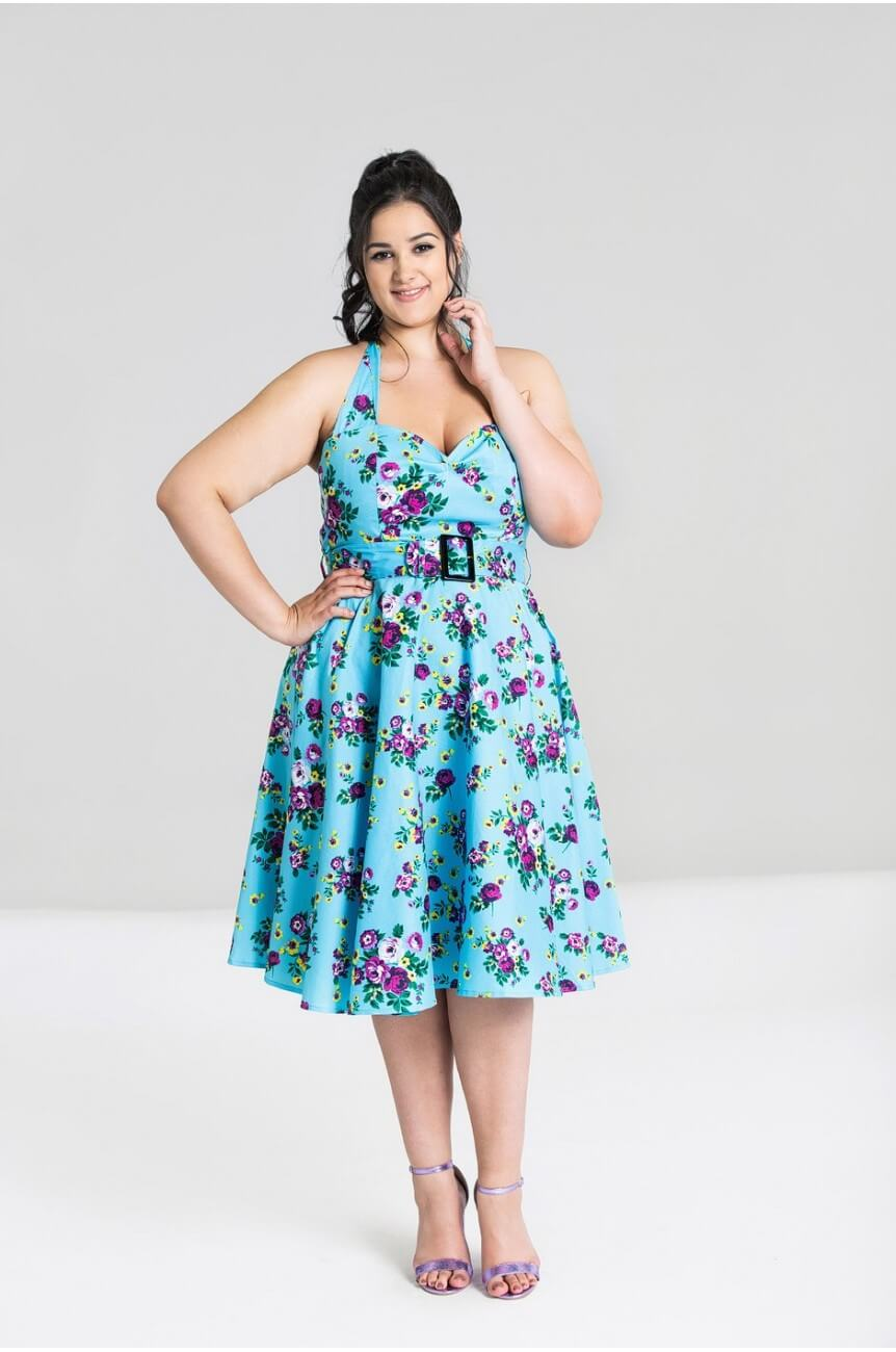 Robe pin up bleue fleurie hell bunny
