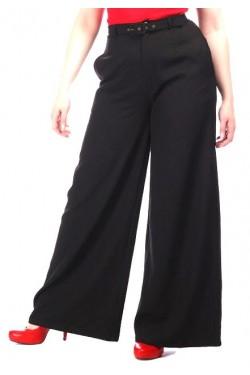 Pantalon rétro large en crêpe noir