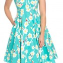 Robe swing bleue a fleurs