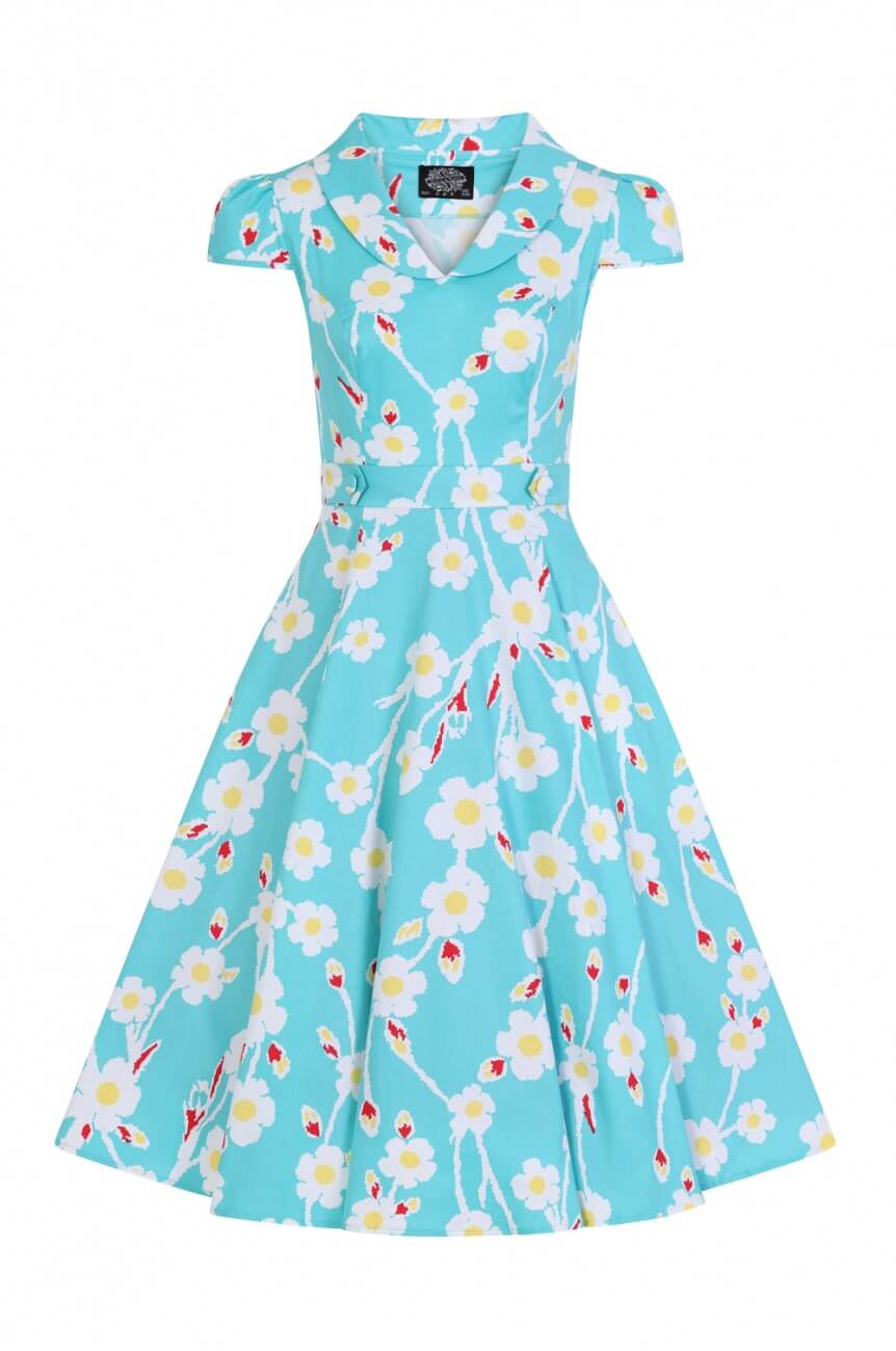 Robe hearts and roses bleue