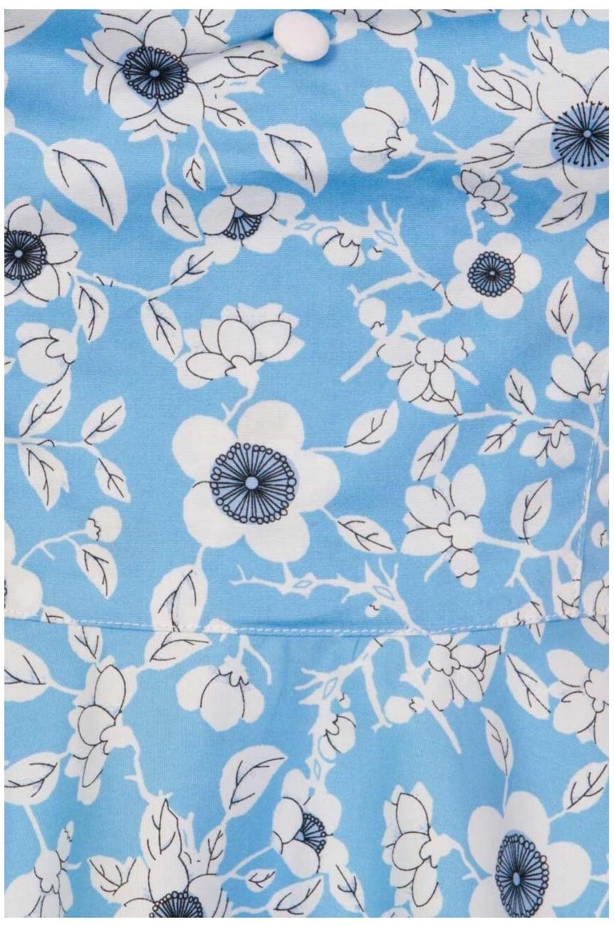 Robe swing fleurie bleue