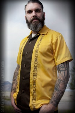 Chemise tiki rockabilly jaune