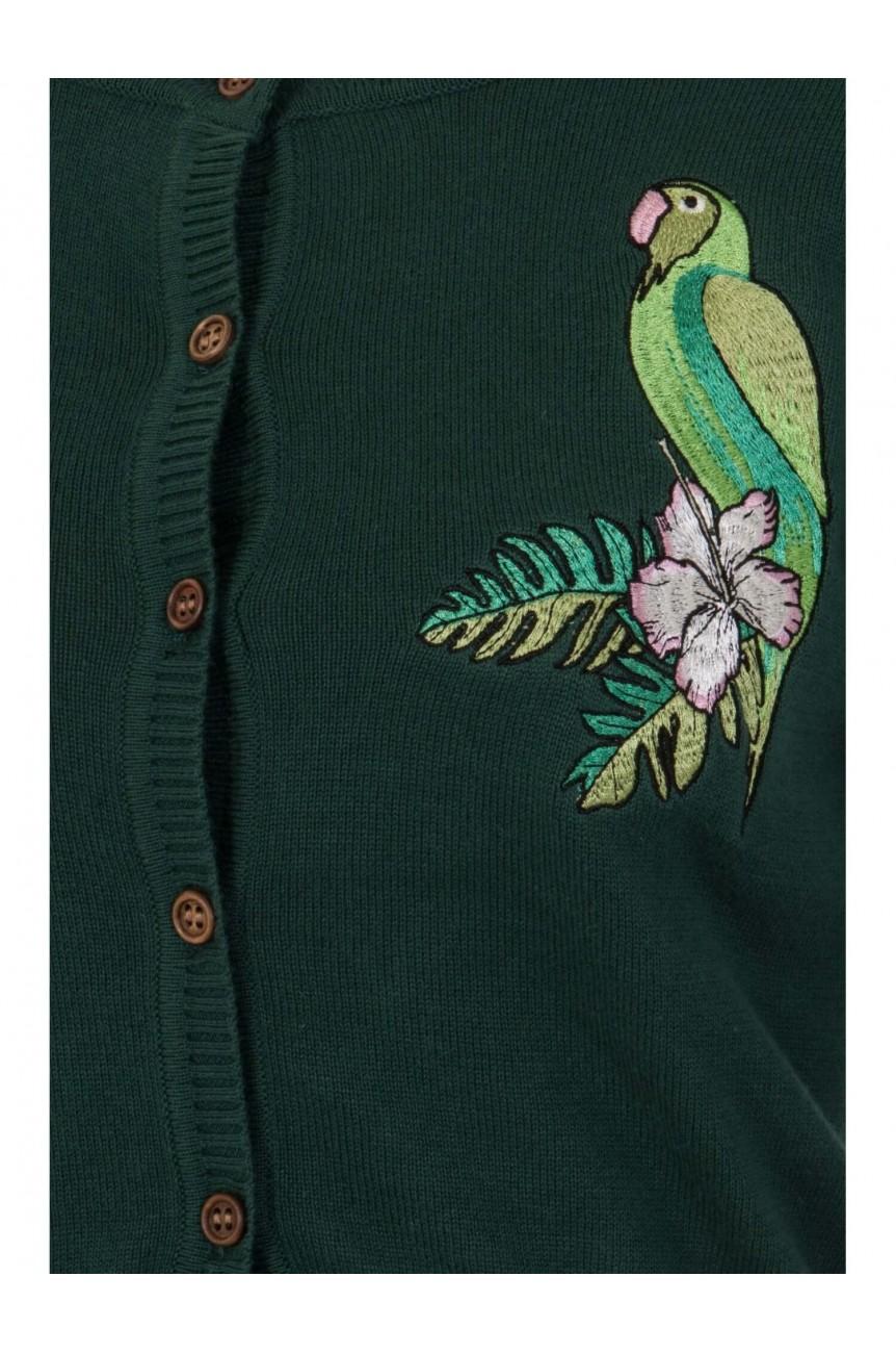 Cardigan vert en coton perroquet