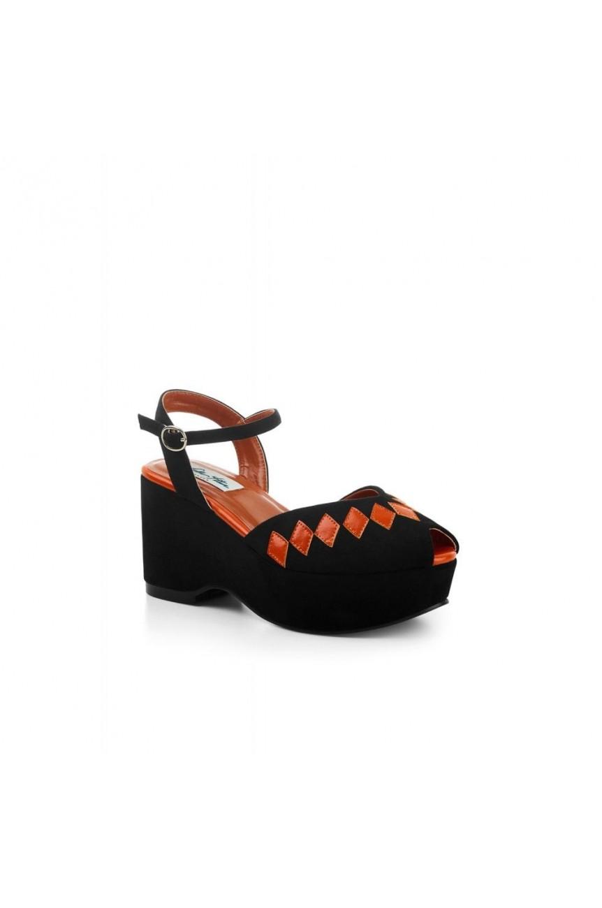 Chaussure compensée noire rétro