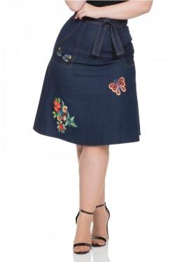 Jupe jean brodée papillons et fleurs