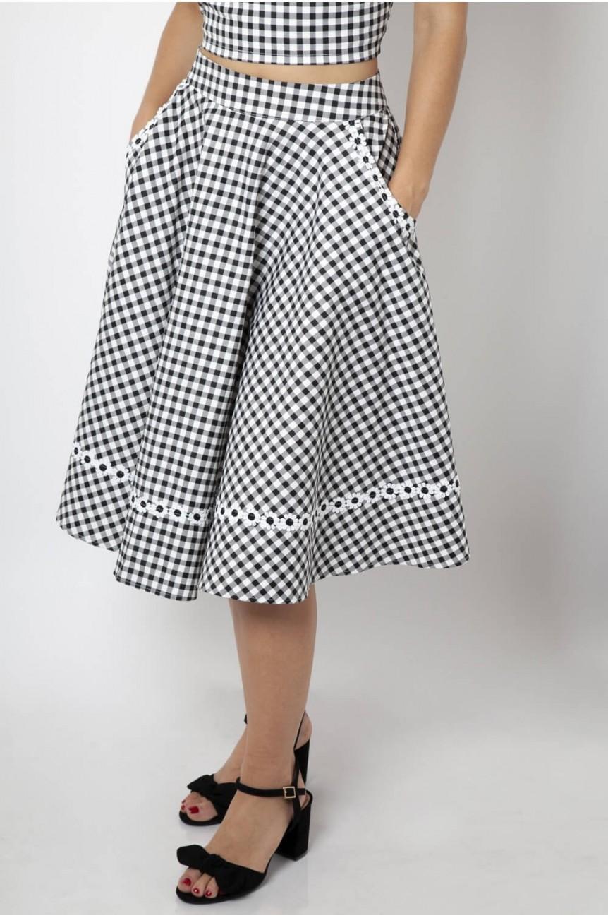 Jupe vichy Bardot années 50