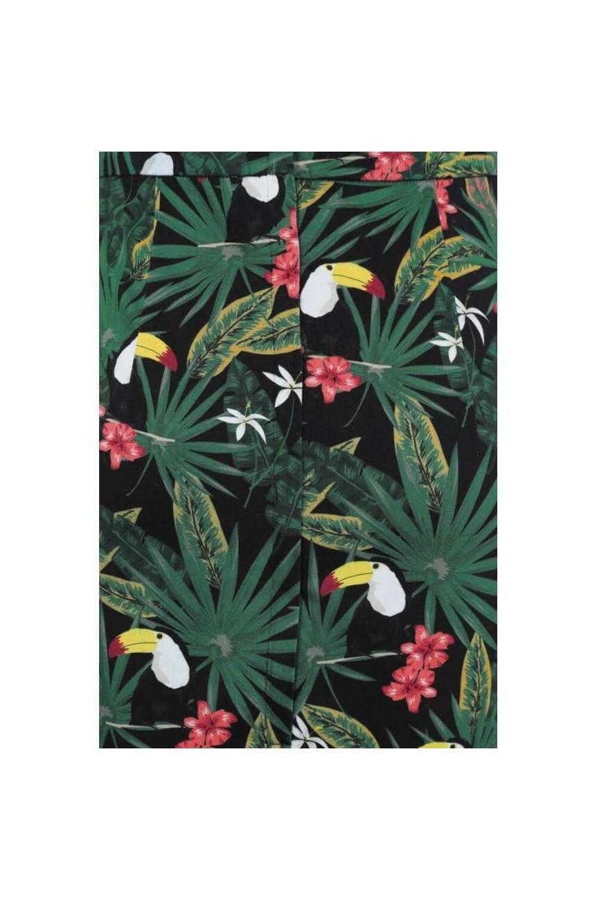 Jupe portefeuille motif tropical rétro