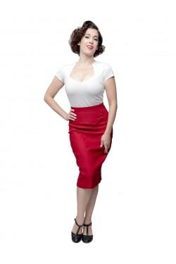 Jupe fourreau rouge taille haute