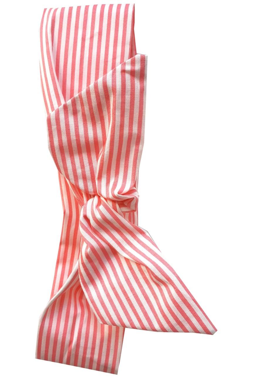 Bandeau pour cheveux rayé rose et blanc