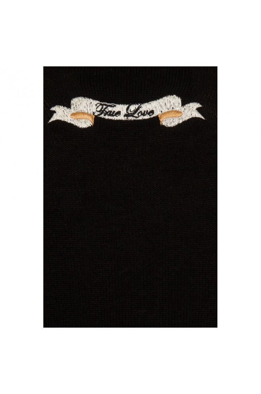 Cardigan noir brodé collectif vintage
