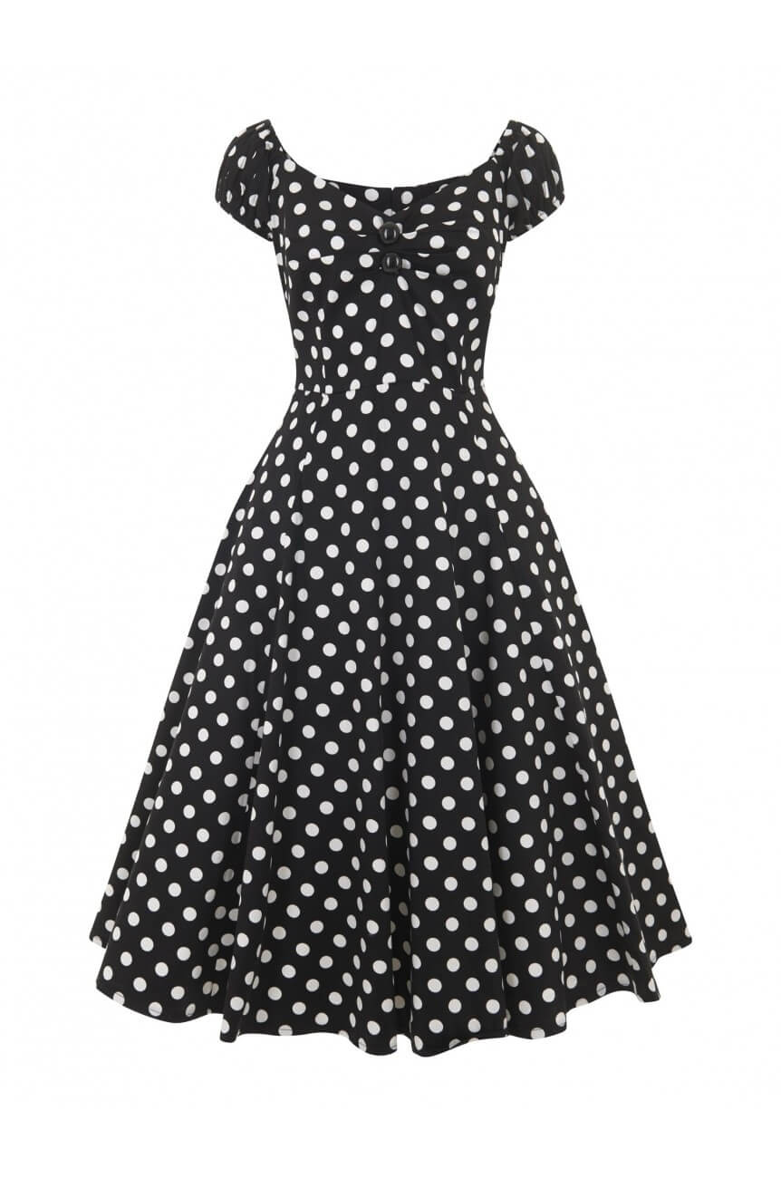 Robe rockabilly noire a pois 50s