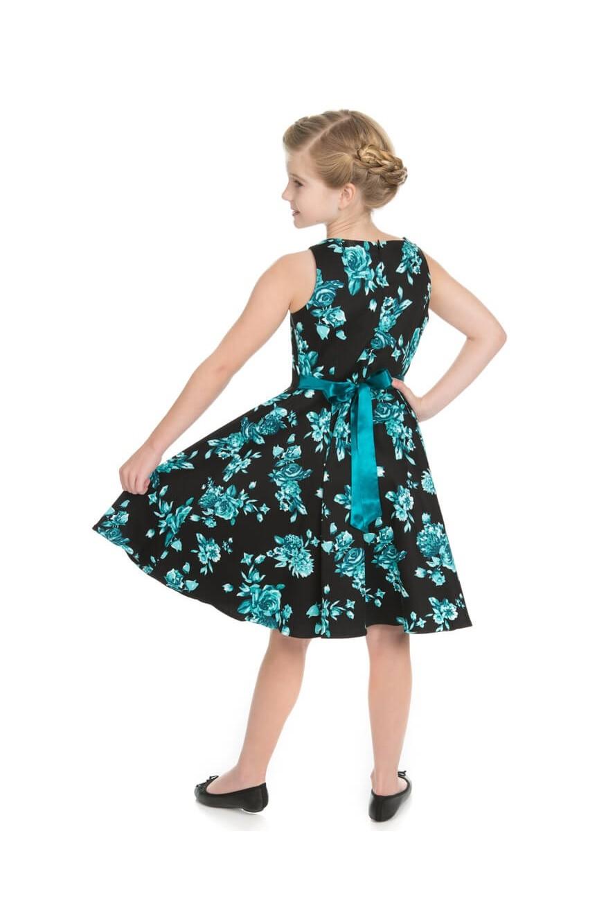 Robe pinup enfant noire et bleue