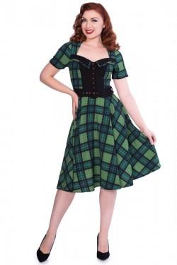 Robe écossais vert 1950