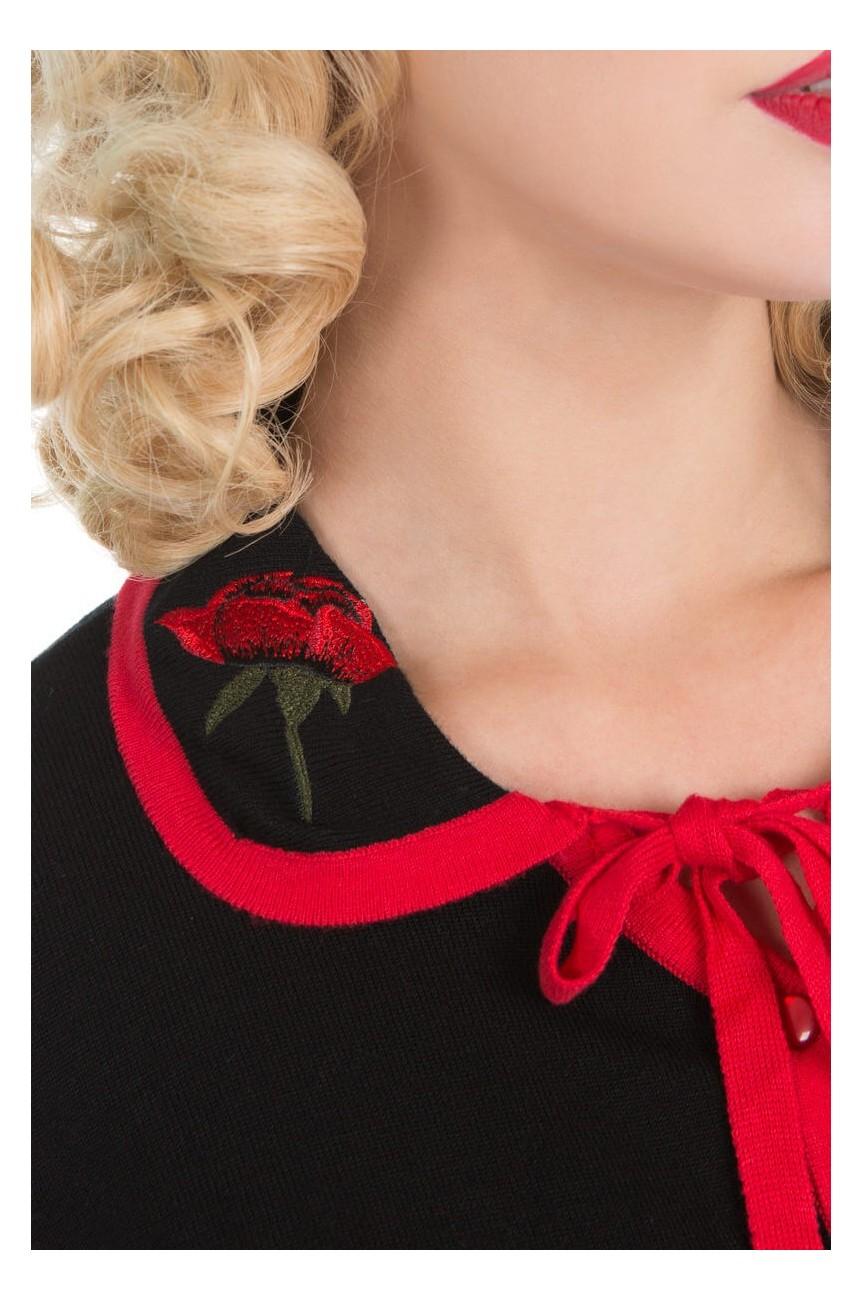 Cardigan rouge et noir brodé de roses