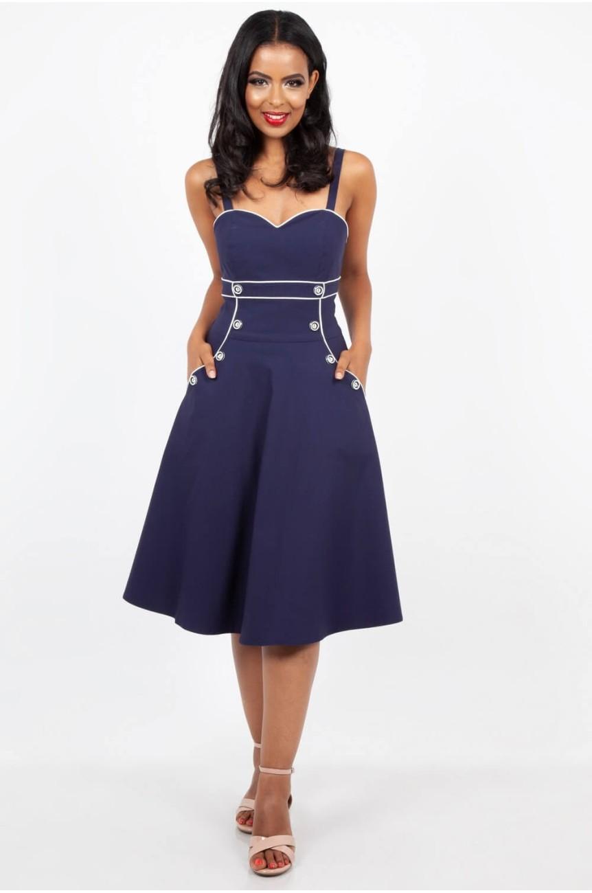 Robe pin-up marin bleue