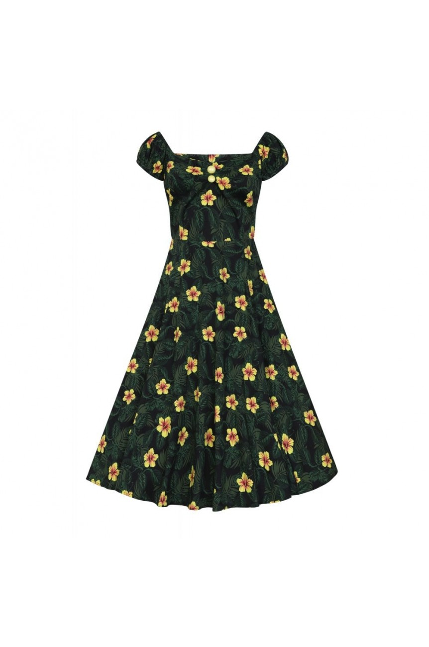 Robe pin-up année 50 tropicale