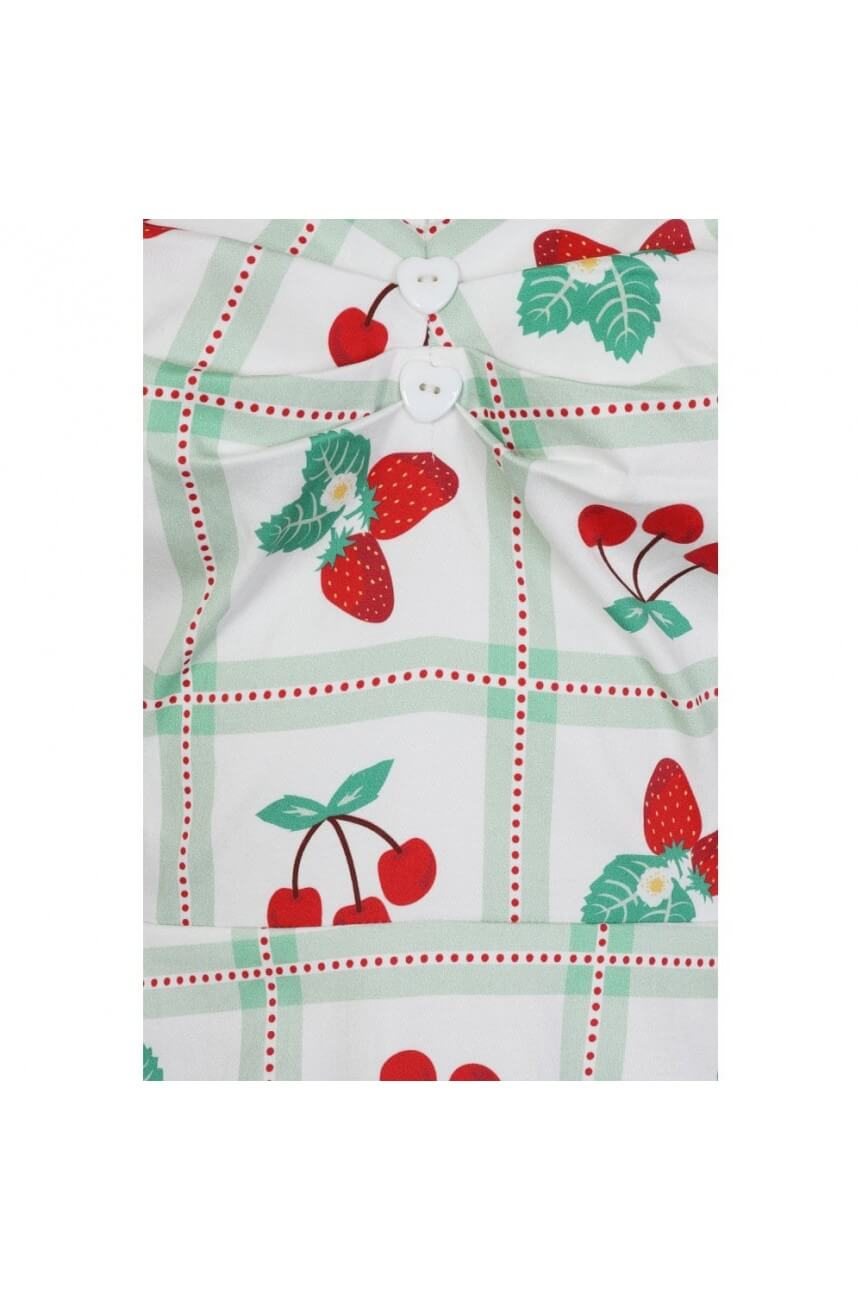 Robe Pin-up blanche fraises et cerises