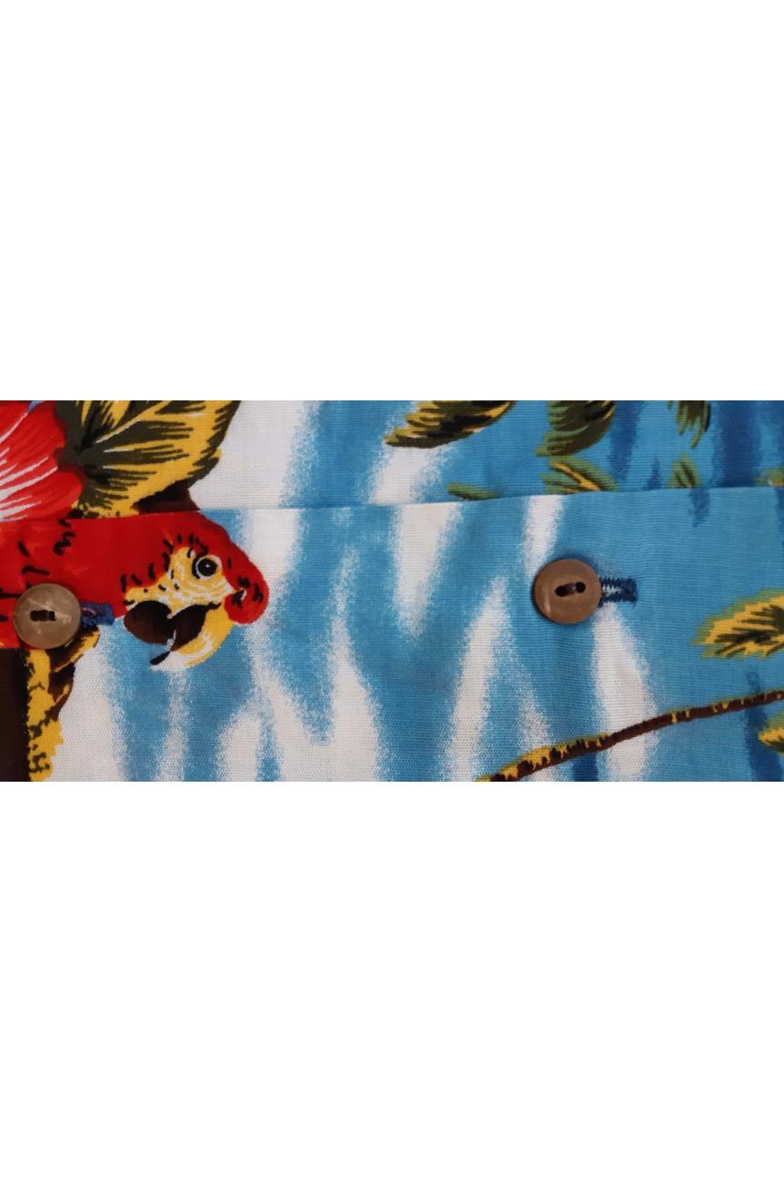 Chemise Hawaïenne perroquets et palmiers