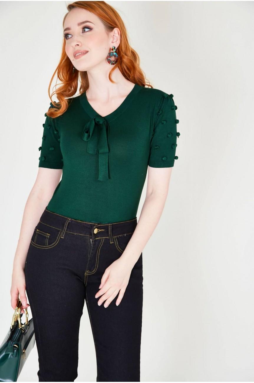 Pull vintage vert femme