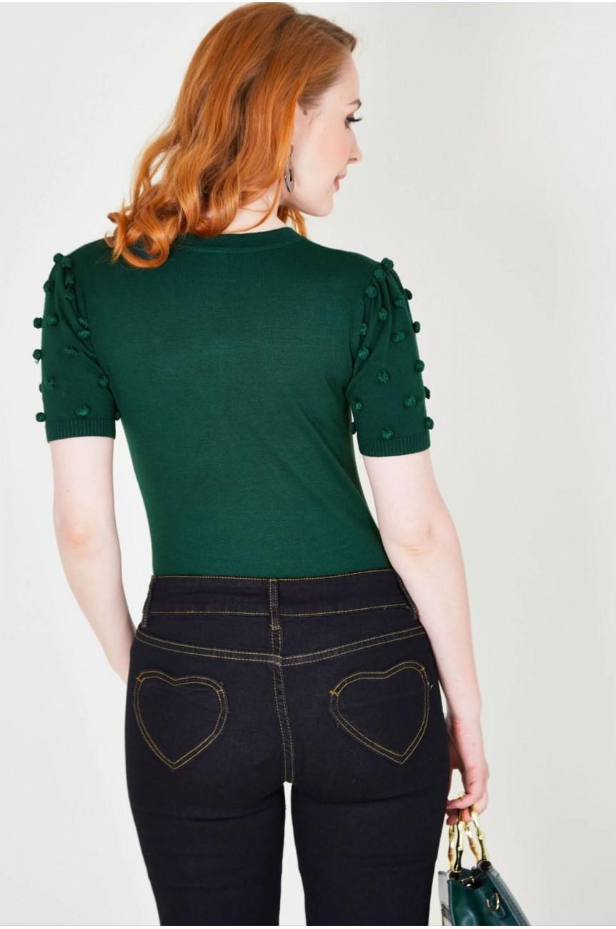 Pull retro vert femme année 40