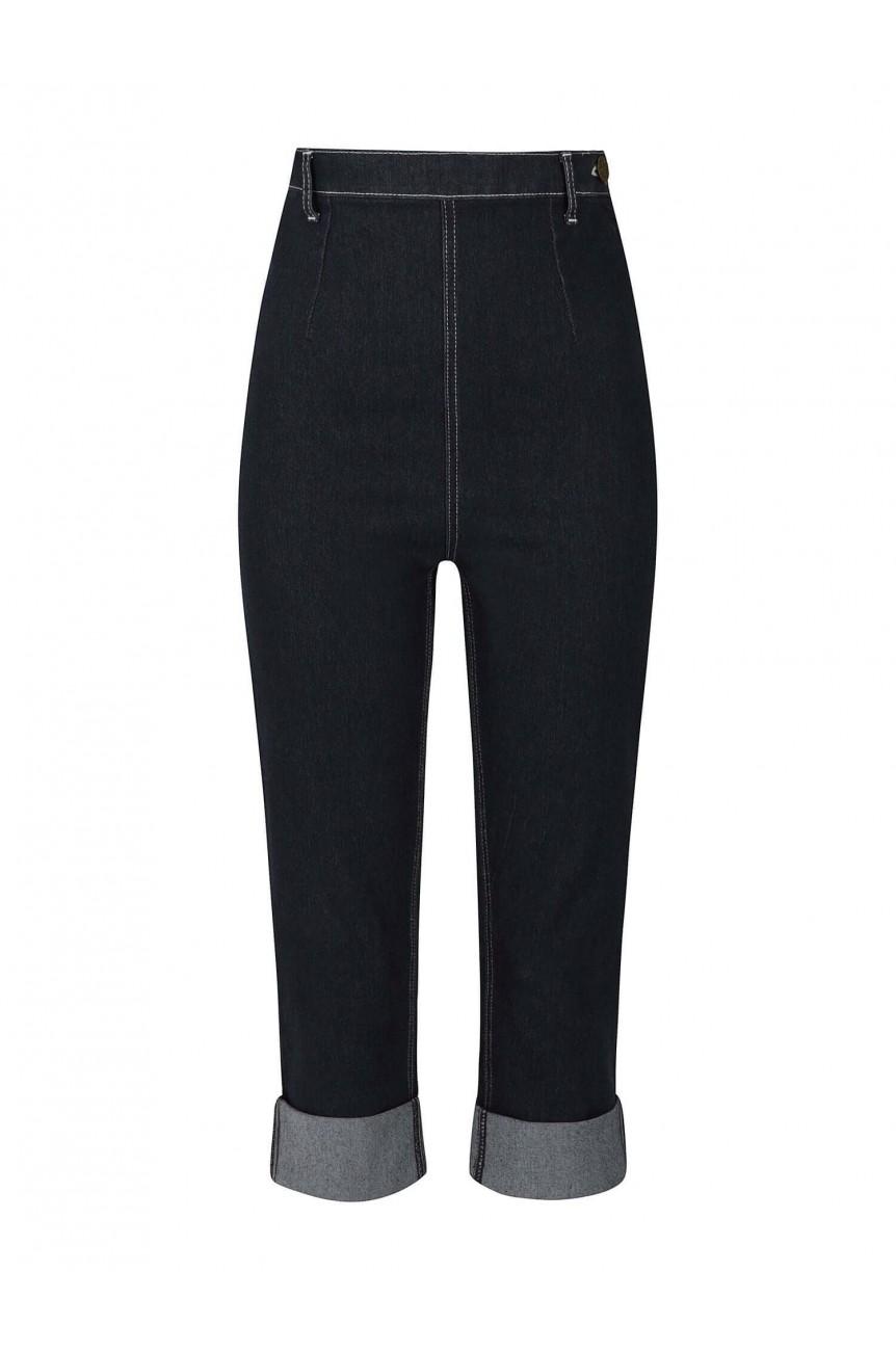 Pantacourt en jean bleu collectif