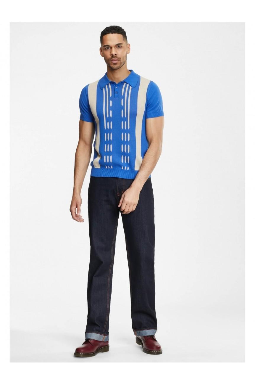 Polo bleu rockabilly pour homme