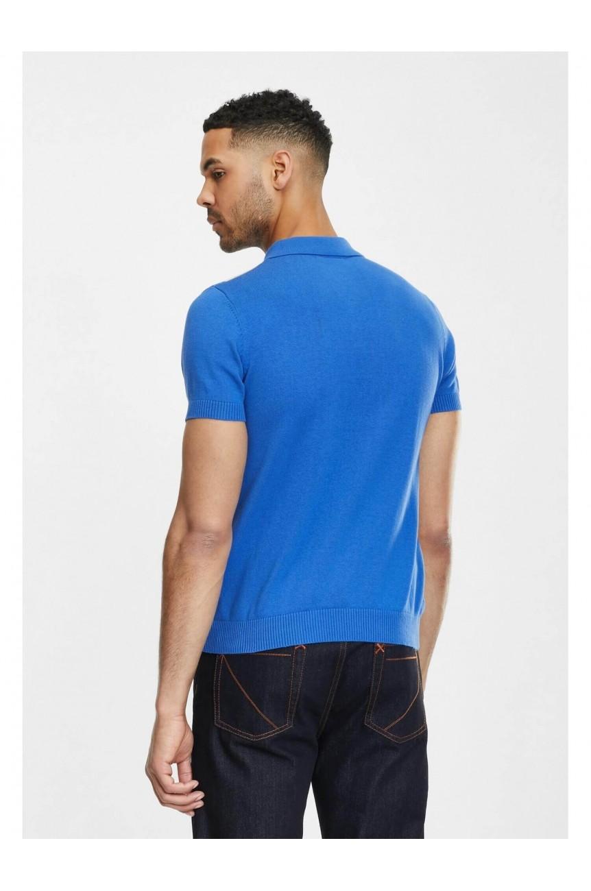 Polo bleu tricot pour homme