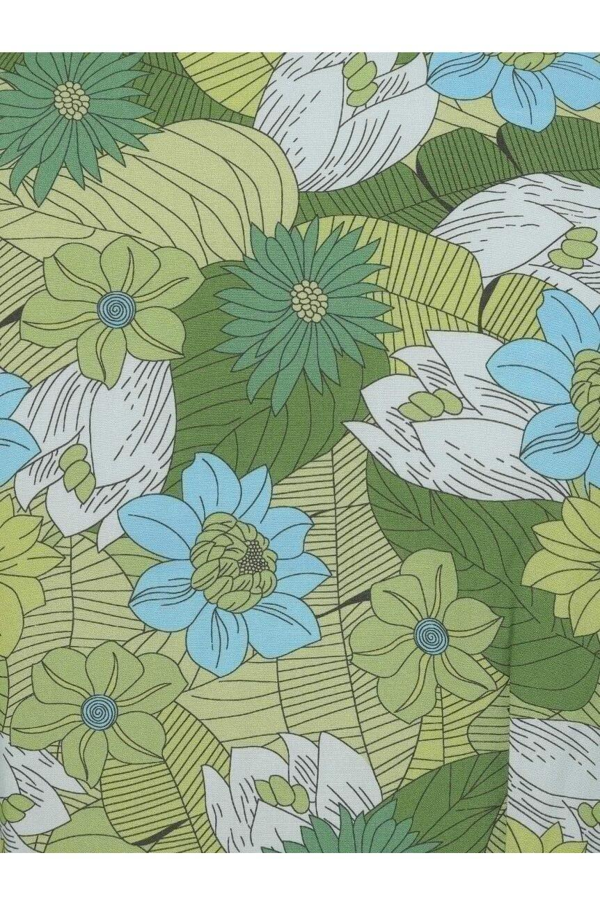 Robe année 70 fleur et palmes