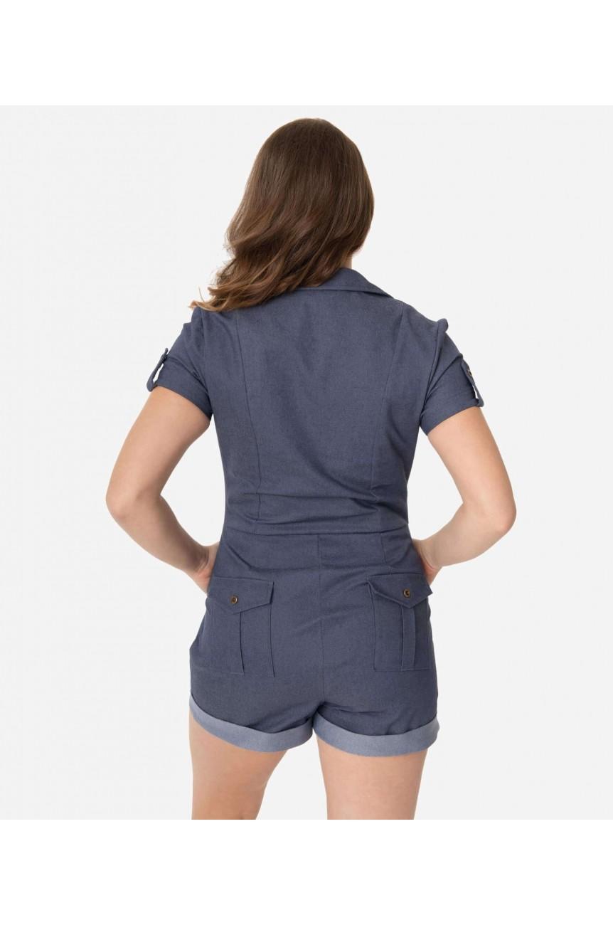 Combishort en jean bleu