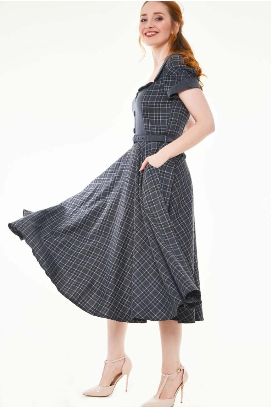 Robe tartan grise longue