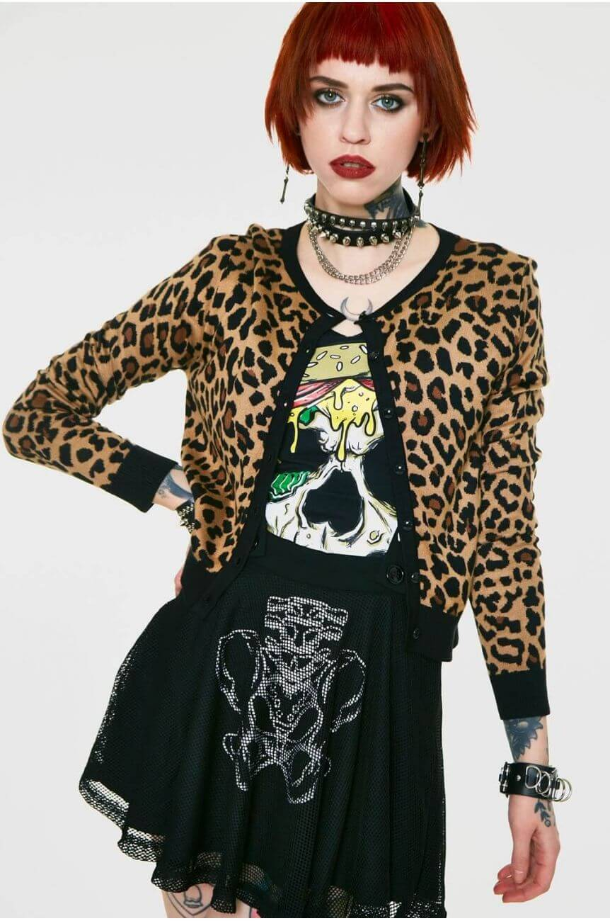 Cardigan léopard rockabilly