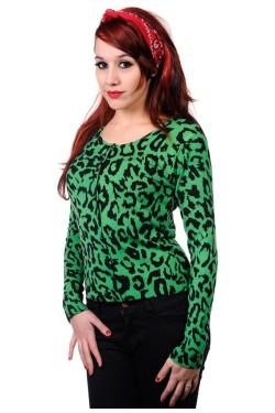 Cardigan léopard vert