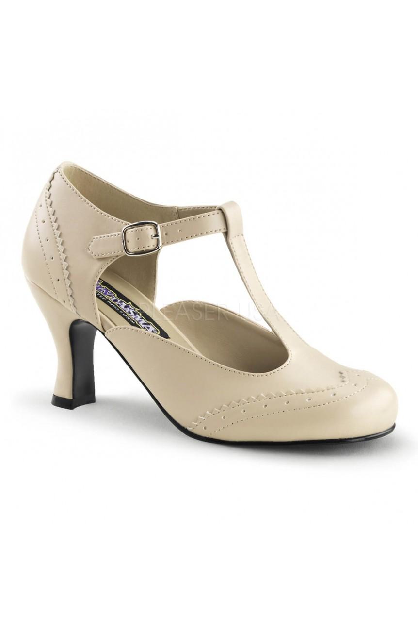 Chaussures retro beige petit talon flapper-26