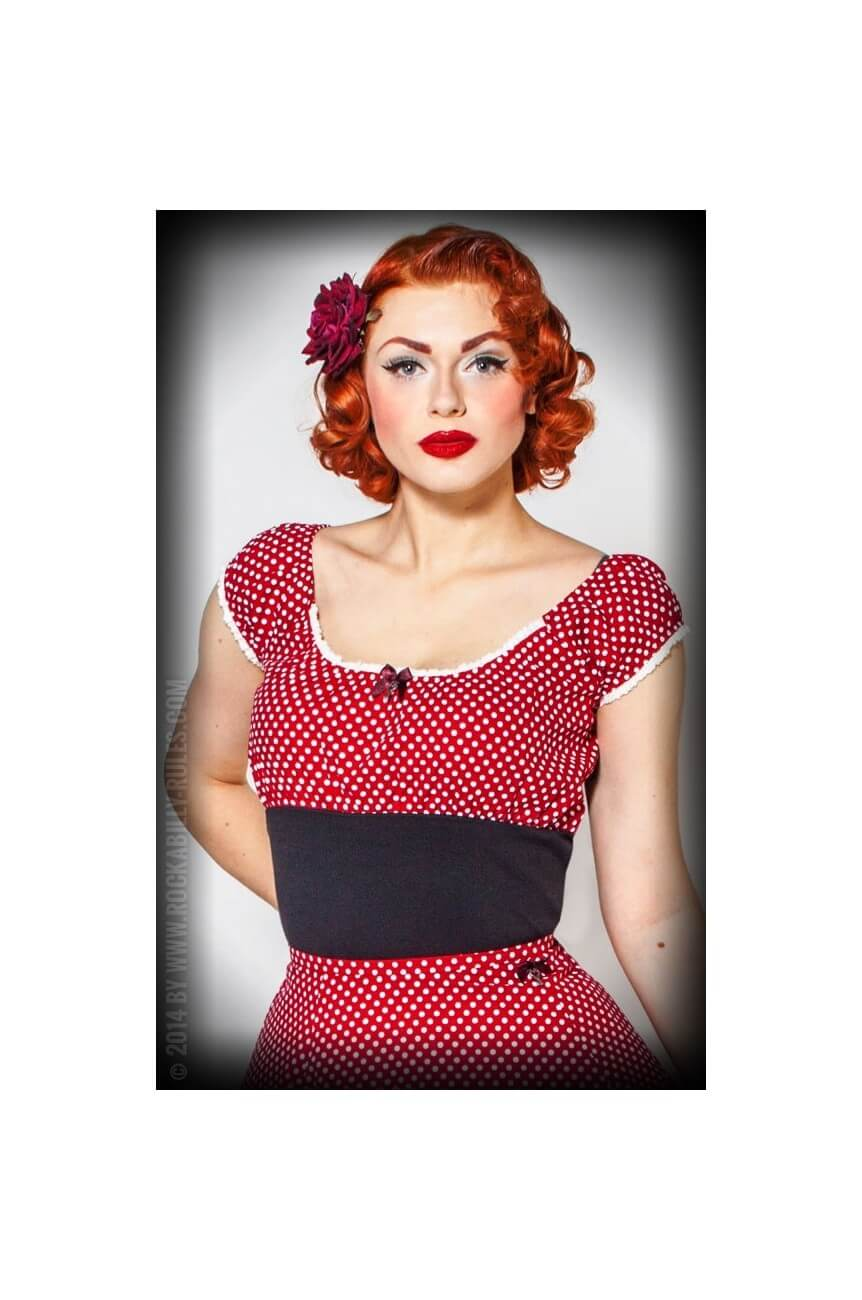 Haut rockabilly rouge a pois