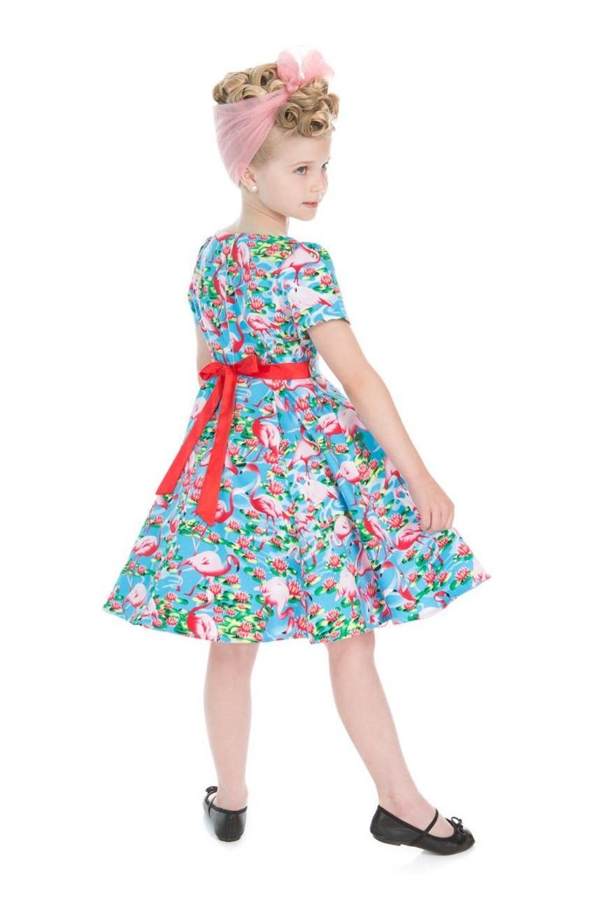 Robe pin up enfant flamant rose