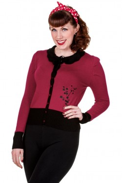 Cardigan pin up bordeaux