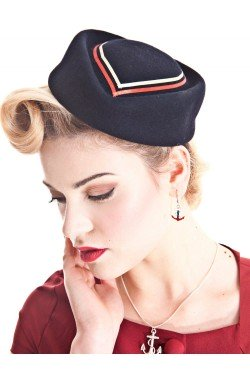 Chapeau pin up marin bleu